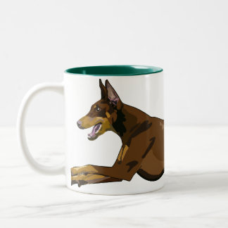 Running Doberman, Red Two-Tone Coffee Mug