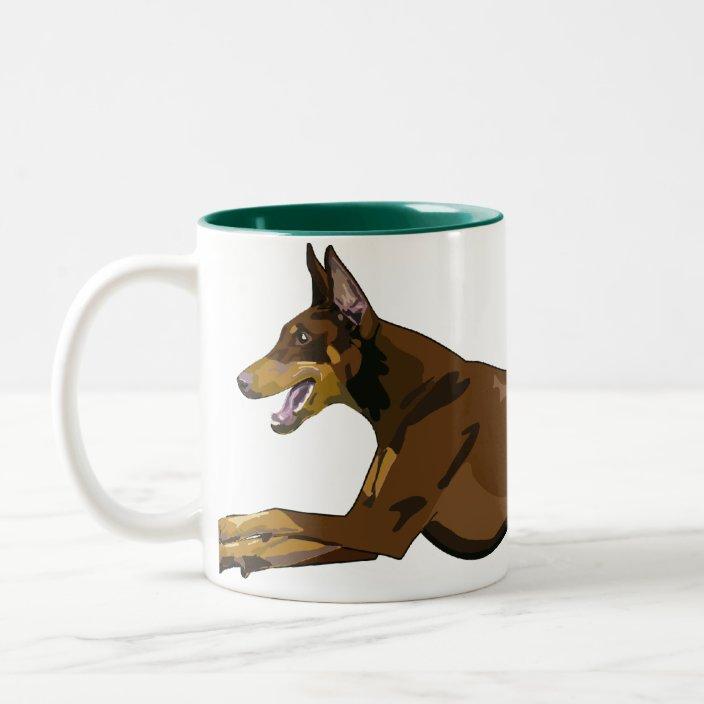 Running Doberman Red Two Tone Coffee Mug Zazzle Com