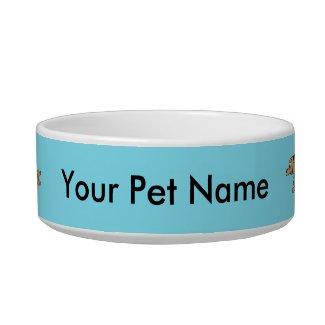 Running Dog Cartoon Cust. Blue Pet Bowl