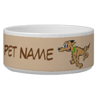 Running Dog Cartoon Cust. Text & Color Pet Bowl