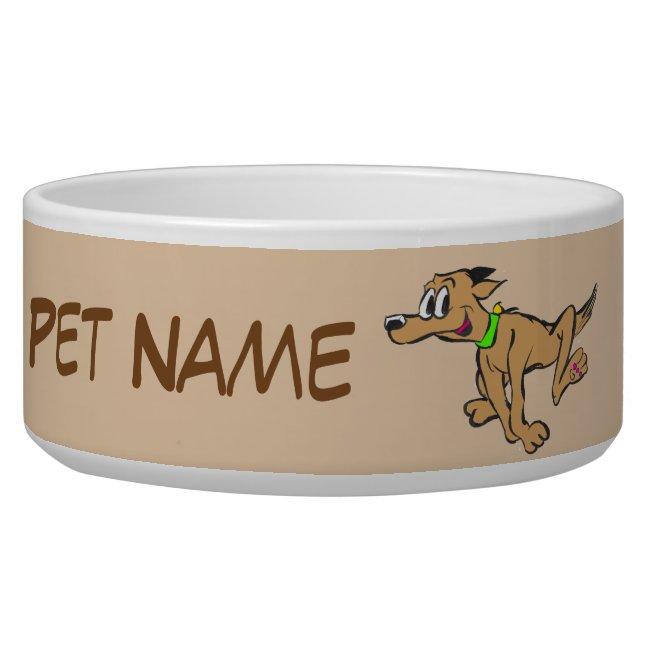 Running Dog Cartoon Cust. Text & Color Pet Bowl