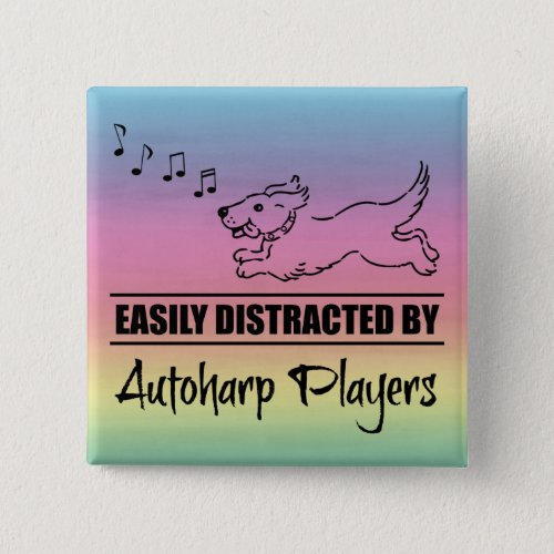 Running Dog Easily Distracted by Autoharp Players Music Notes Rainbow 2-inch Square Button