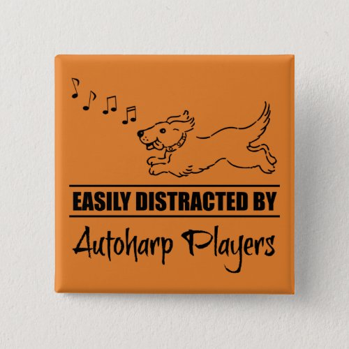 Running Dog Easily Distracted by Autoharp Players Music Notes 2-inch Square Button