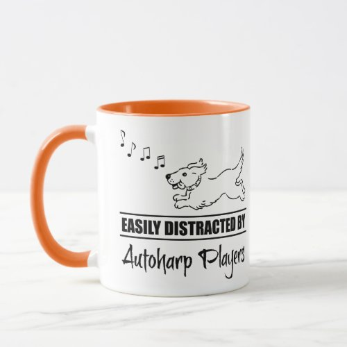 Running Cartoon Dog Easily Distracted by Autoharp Players Music Notes Mug