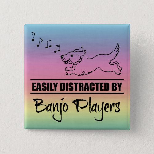 Running Dog Easily Distracted by Banjo Players Music Notes Rainbow 2-inch Square Button