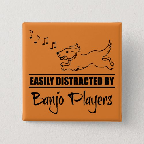 Running Dog Easily Distracted by Banjo Players Music Notes 2-inch Square Button