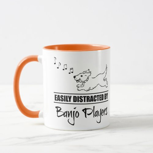 Running Cartoon Dog Easily Distracted by Banjo Players Music Notes Mug
