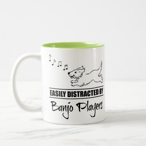 Running Dog Easily Distracted by Banjo Players Music Notes Two-Tone Coffee Mug