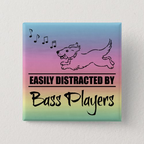 Running Dog Easily Distracted by Bass Players Music Notes Rainbow 2-inch Square Button