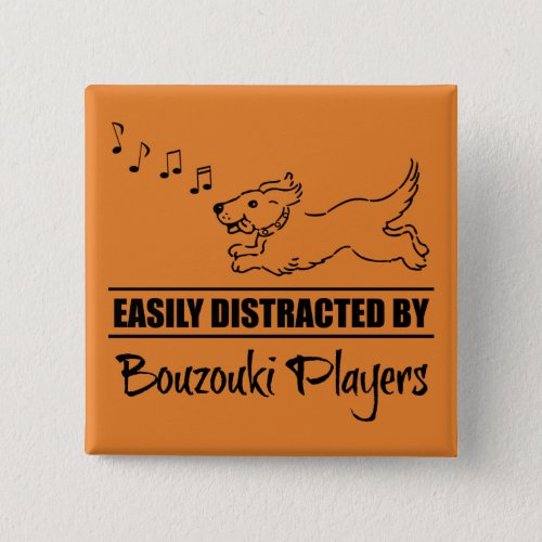 Running Dog Easily Distracted by Bouzouki Players Music Notes 2-inch Square Button