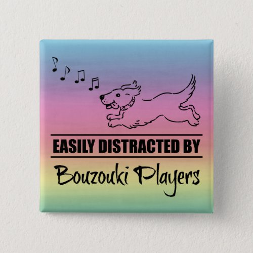 Running Dog Easily Distracted by Bouzouki Players Music Notes Rainbow 2-inch Square Button