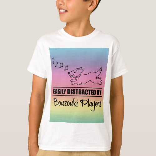 Running Dog Easily Distracted by Bouzouki Players Music Notes Rainbow Basic T-Shirt