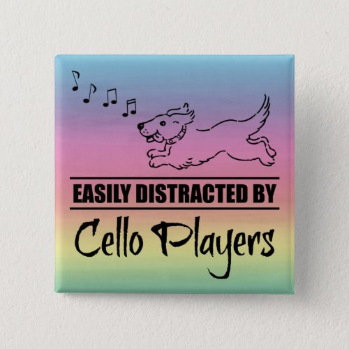 Running Dog Easily Distracted by Cello Players Music Notes Rainbow 2-inch Square Button