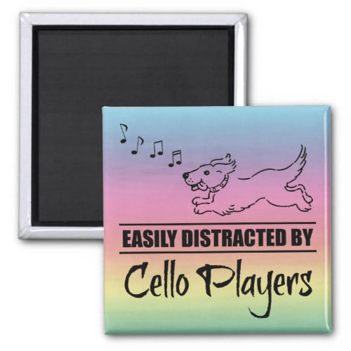 Running Dog Easily Distracted by Cello Players Music Notes Rainbow 2-inch Square Magnet
