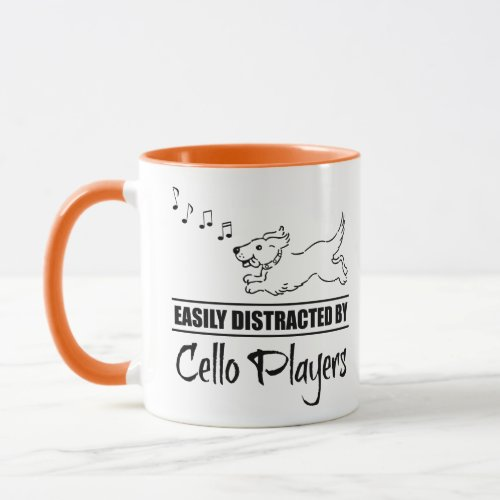 Running Cartoon Dog Easily Distracted by Cello Players Music Notes Coffee Mug
