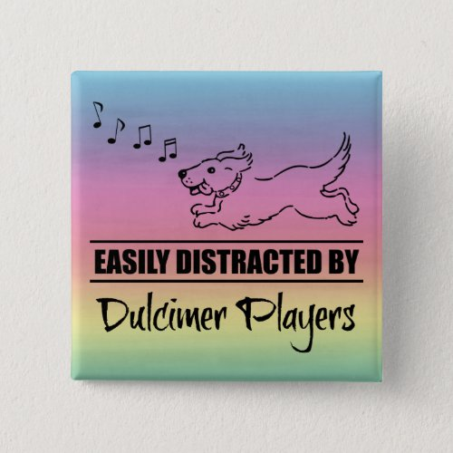 Running Dog Easily Distracted by Dulcimer Players Music Notes Rainbow 2-inch Square Button