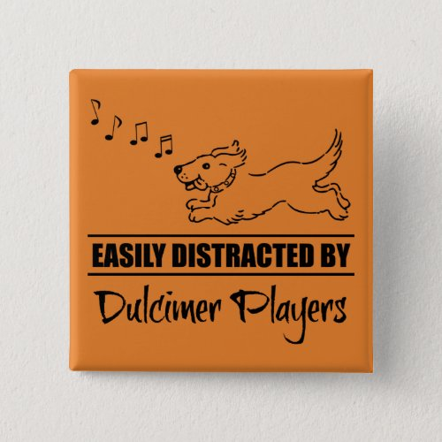 Running Dog Easily Distracted by Dulcimer Players Music Notes 2-inch Square Button