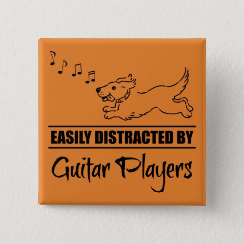 Running Dog Easily Distracted by Guitar Players Music Notes 2-inch Square Button