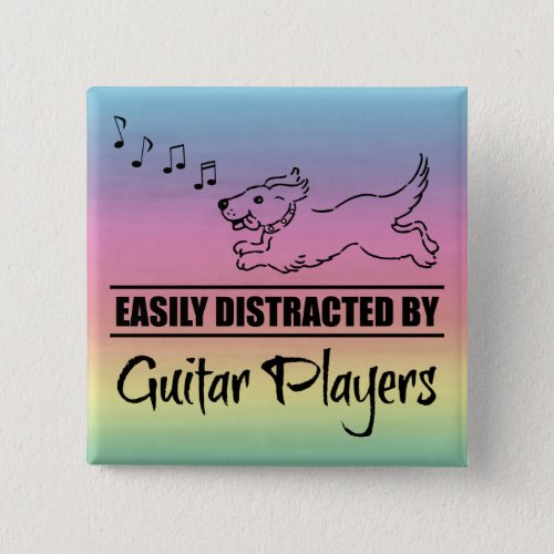 Running Dog Easily Distracted by Guitar Players Music Notes Rainbow 2-inch Square Button