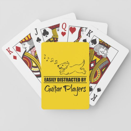 Running Dog Easily Distracted by Guitar Players Poker Size Playing Cards