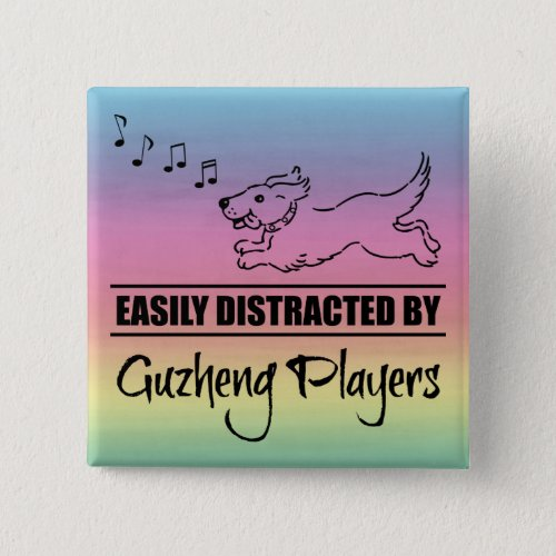 Running Dog Easily Distracted by Guzheng Players Music Notes Rainbow 2-inch Square Button
