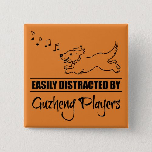 Running Dog Easily Distracted by Guzheng Players Music Notes 2-inch Square Button
