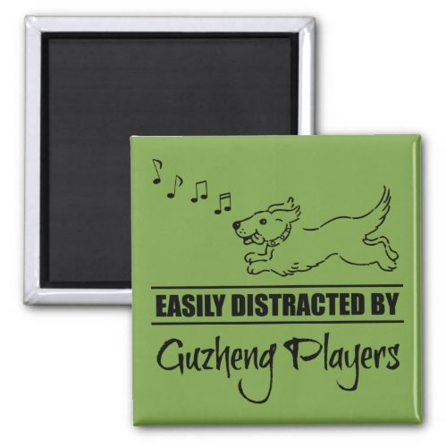 Running Dog Easily Distracted by Guzheng Players Music Notes 2-inch Square Magnet