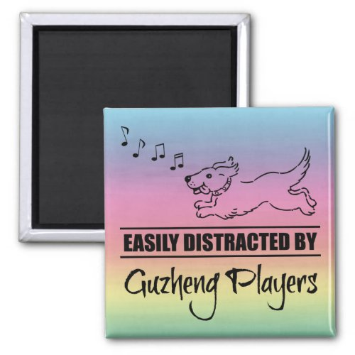 Running Dog Easily Distracted by Guzheng Players Music Notes Rainbow 2-inch Square Magnet
