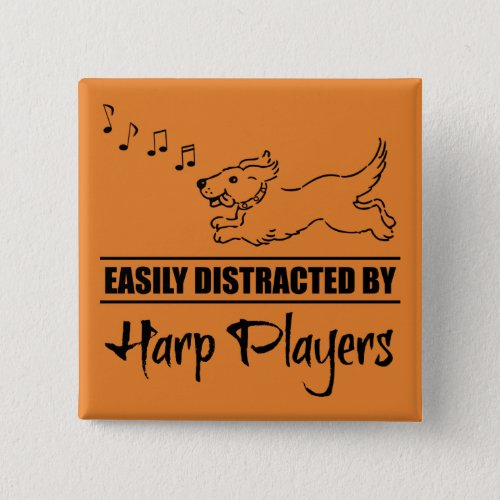 Running Dog Easily Distracted by Harp Players Music Notes 2-inch Square Button