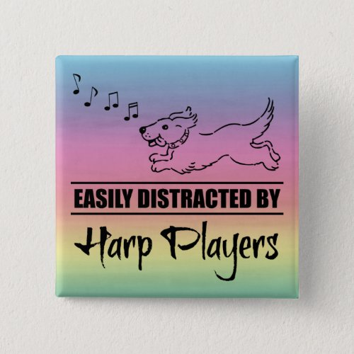 Running Dog Easily Distracted by Harp Players Music Notes Rainbow 2-inch Square Button