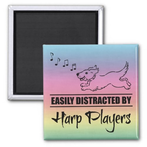 Running Dog Easily Distracted by Harp Players Music Notes Rainbow 2-inch Square Magnet