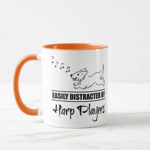Running Cartoon Dog Easily Distracted by Harp Players Music Notes Coffee Mug