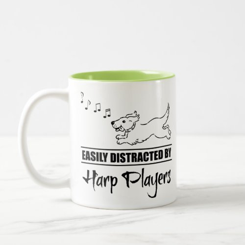 Running Dog Easily Distracted by Harp Players Music Notes Two-Tone Coffee Mug