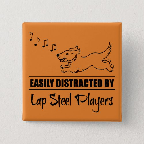 Running Dog Easily Distracted by Lap Steel Players Music Notes 2-inch Square Button