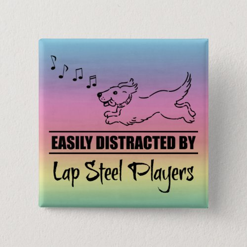 Running Dog Easily Distracted by Lap Steel Players Music Notes Rainbow 2-inch Square Button