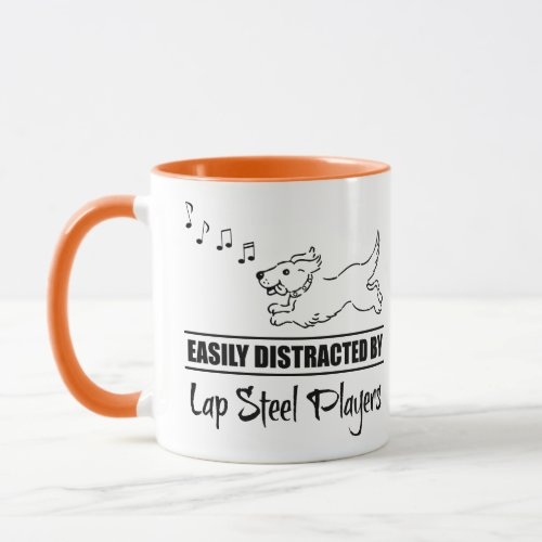 Running Cartoon Dog Easily Distracted by Lap Steel Players Music Notes Coffee Mug