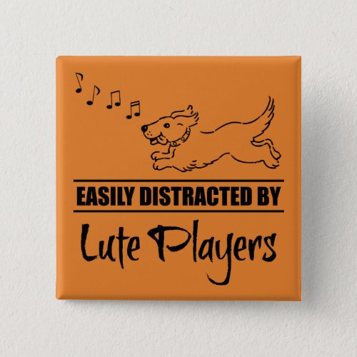 Running Dog Easily Distracted by Lute Players Music Notes 2-inch Square Button