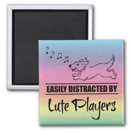 Running Dog Easily Distracted by Lute Players Music Notes Rainbow 2-inch Square Magnet