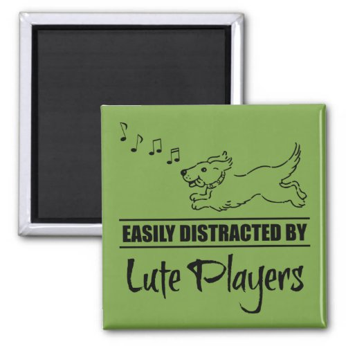 Running Dog Easily Distracted by Lute Players Music Notes 2-inch Square Magnet