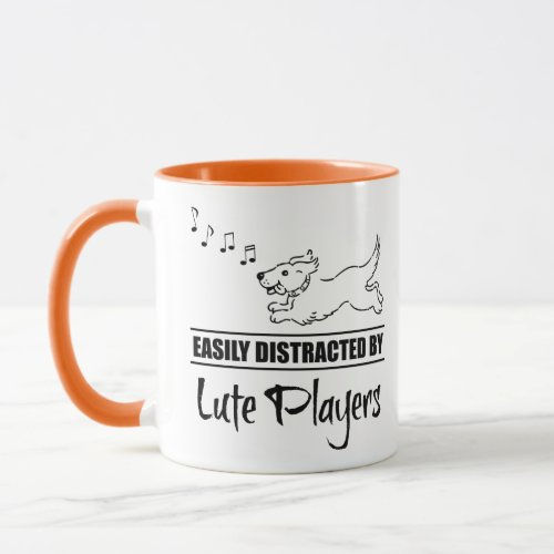 Running Cartoon Dog Easily Distracted by Lute Players Music Notes Coffee Mug
