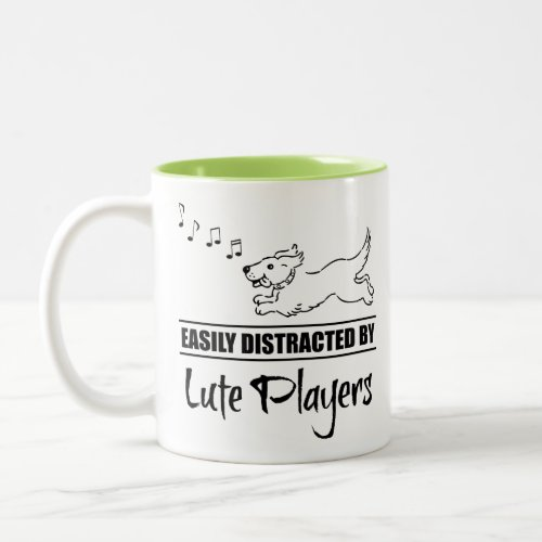 Running Dog Easily Distracted by Lute Players Music Notes Two-Tone Coffee Mug