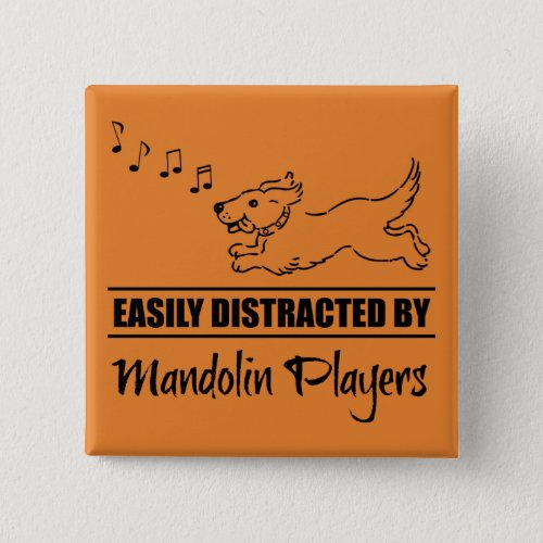Running Dog Easily Distracted by Mandolin Players Music Notes 2-inch Square Button