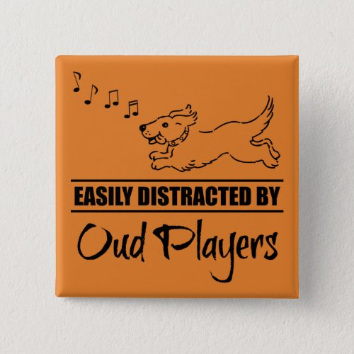 Running Dog Easily Distracted by Oud Players Music Notes 2-inch Square Button