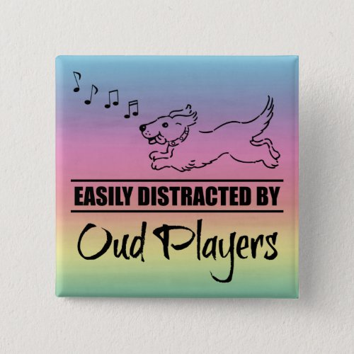 Running Dog Easily Distracted by Oud Players Music Notes Rainbow 2-inch Square Button