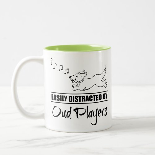 Running Dog Easily Distracted by Oud Players Music Notes Two-Tone Coffee Mug