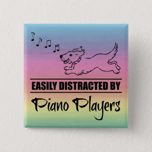 Running Dog Easily Distracted by Piano Players Music Notes Rainbow 2-inch Square Button