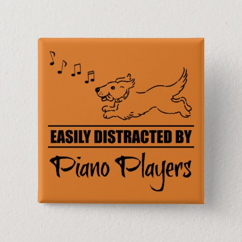 Running Dog Easily Distracted by Piano Players Music Notes 2-inch Square Button