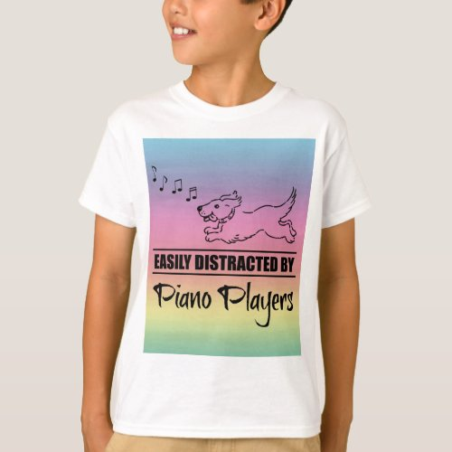 Running Dog Easily Distracted by Piano Players Music Notes Rainbow Basic T-Shirt
