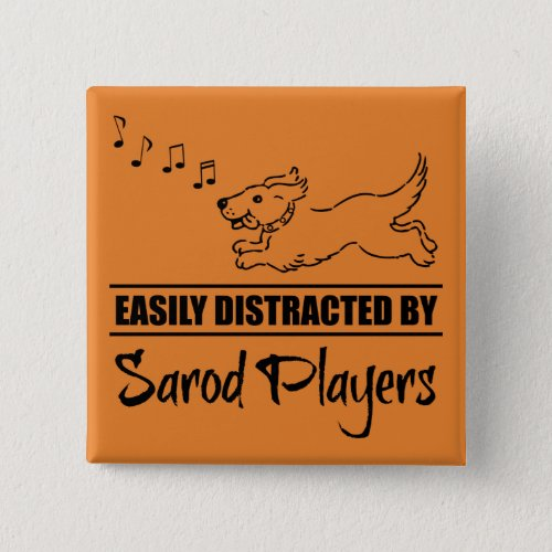 Running Dog Easily Distracted by Sarod Players Music Notes 2-inch Square Button