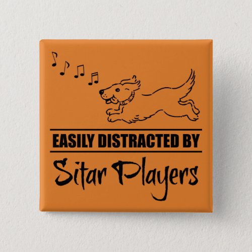 Running Dog Easily Distracted by Sitar Players Music Notes 2-inch Square Button